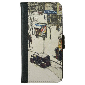 Vintage Snow Covered 1920s City Street Cars Winter iPhone 6 Wallet Case