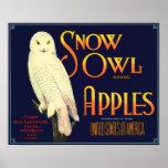 Vintage Snow Owl Apples Label Poster