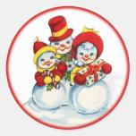 Vintage Snow People Christmas Sticker