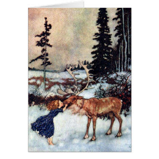 Vintage Snow Queen Gerda and Reindeer Fairy Tale Card