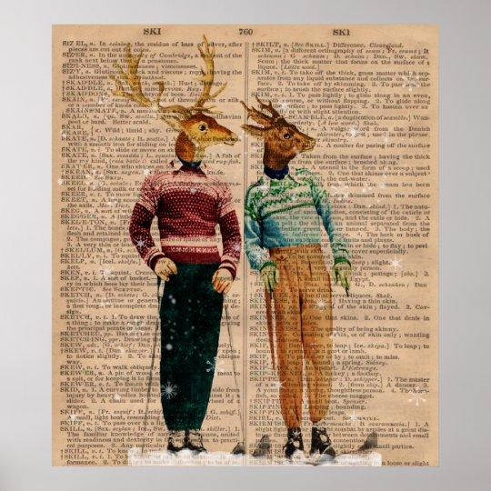Vintage Snow Ski Deer Dictionary Page Art Poster
