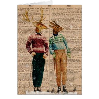 Vintage Snow Ski Deer Dictionary Page Card