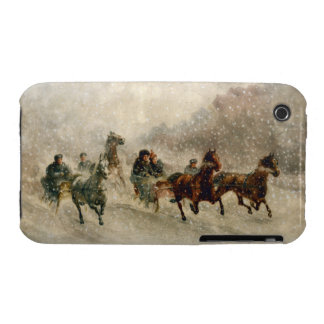 Vintage Snow Sleigh racing Case-Mate iPhone 3 Case
