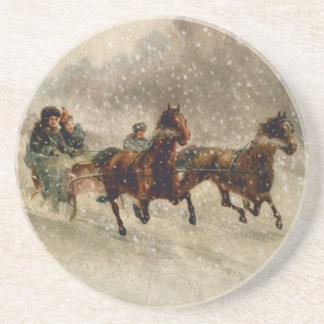 Vintage Snow Sleigh racing Coaster