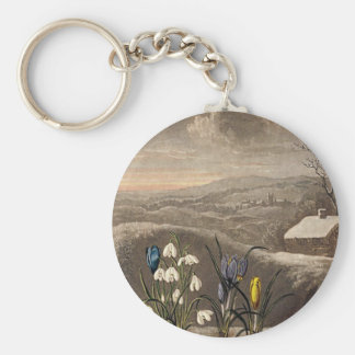 Vintage Snowdrop In Sepia Key Ring