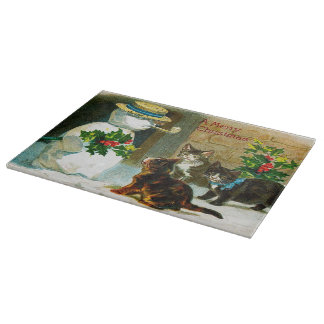 Vintage Snowman and cats glass cutting board