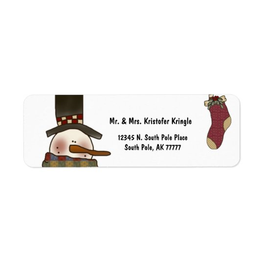 Vintage Snowman And Christmas Stocking Label Return Address Label