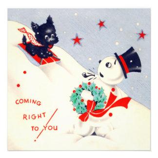 Vintage Snowman and Scottie Christmas Card