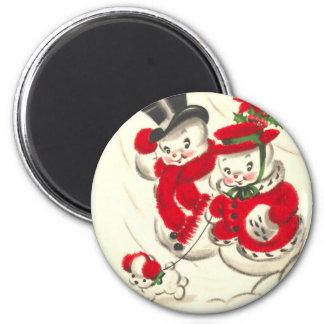 Vintage Snowman and Snowwoman Round Magnet