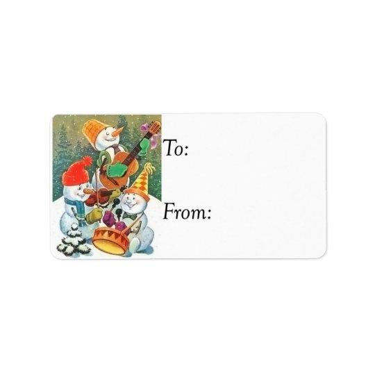 Vintage Snowman Band Gift Tag Address Label