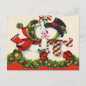 Vintage Snowman Christmas Postcard