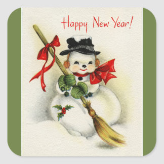 Vintage Snowman Green Happy New Year Square Sticker