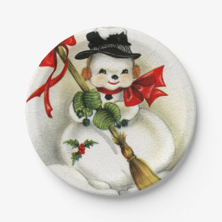Vintage Snowman Happy New Year 7 Inch Paper Plate
