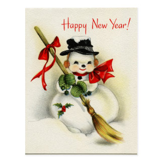 Vintage Snowman Happy New Year Postcard