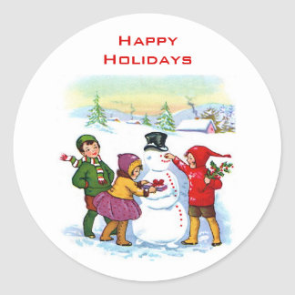 Vintage Snowman Holiday Stickers