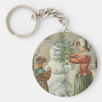 Vintage Snowman Basic Round Button Key Ring