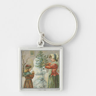 Vintage Snowman Silver-Colored Square Key Ring