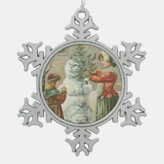 Vintage Snowman Snowflake Pewter Christmas Ornament