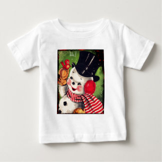 Vintage Snowman with a Red Bird Baby T-Shirt