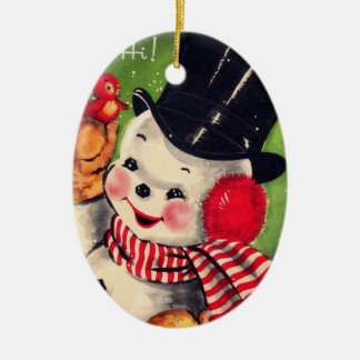 Vintage Snowman with Red Bird Christmas Ornament