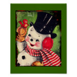 Vintage Snowman with Red Bird Poster