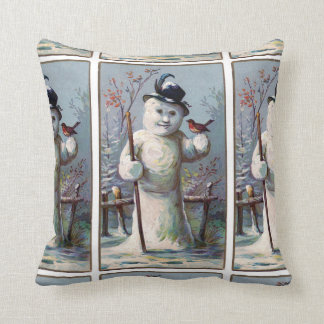 Vintage Snowman with Robin Pattern Cushion