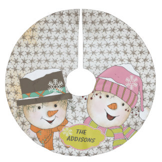 Vintage Snowmen Couple Holidays Tree Skirt