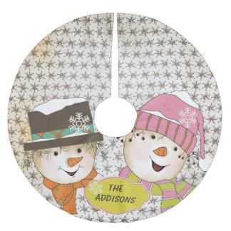 Vintage Snowmen Couple Holidays Tree Skirt