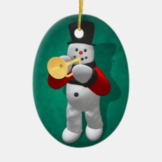 Vintage Snowmen: Trumpeter Ceramic Oval Decoration
