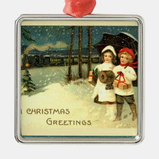 Vintage Snowy Christmas Train Ride Christmas Ornament