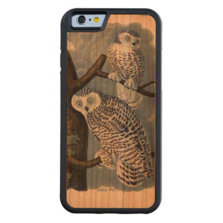 Vintage Snowy Owl Wooden iPhone 6 Case Carved® Cherry iPhone 6 Bumper Case
