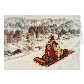 Vintage Snowy Victorian Christmas by Shawna Mac Greeting Card