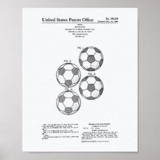 Vintage Soccer Ball 1964 Patent Art - White Paper Poster