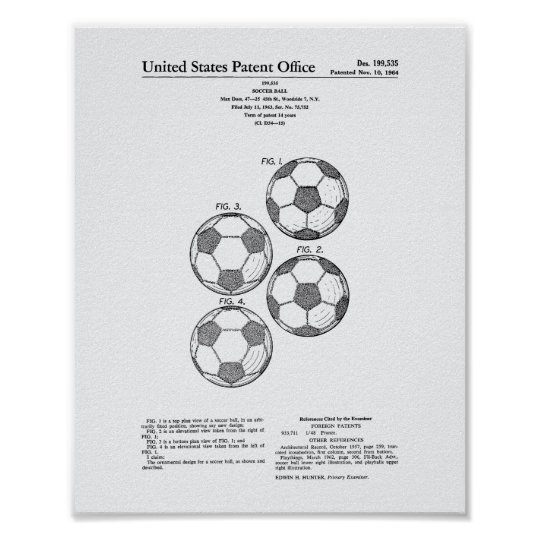Vintage Soccer Ball 1964 Patent Art - White
