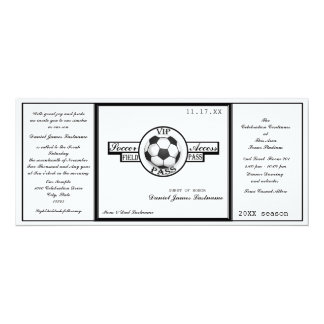 Vintage Soccer Field Pass Black and White 10 Cm X 24 Cm Invitation Card