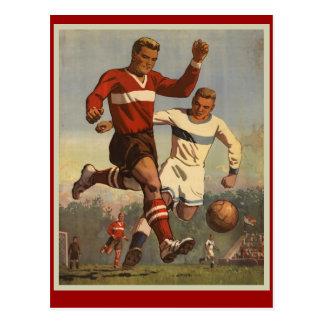 Vintage soccer football poster postcard