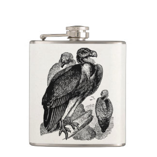 Vintage Sociable Vulture Bird - Vultures Template Hip Flask