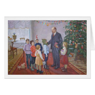 Vintage Socialist Realism Christmas with Lenin Card