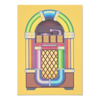 Vintage Sock Record Hop Dance Jukebox on Melon 11 Cm X 16 Cm Invitation Card