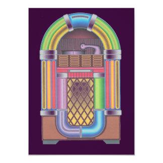 Vintage Sock Record Hop Dance Jukebox Purple 11 Cm X 16 Cm Invitation Card