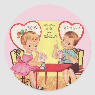 Vintage Soda Shop Sweethearts Valentine Round Sticker
