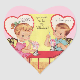Vintage Soda Shop Valentine Sweethearts Heart Sticker