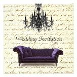 Vintage Sofa Chandelier  Wedding Invitation