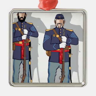 Vintage Soldier Silver-Colored Square Decoration