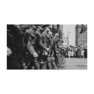 Vintage Soldiers Marching Wall Canvas Gallery Wrapped Canvas
