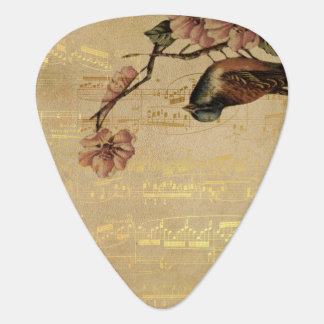 Vintage Song Bird Cherry Blossom Gold Music Notes Plectrum