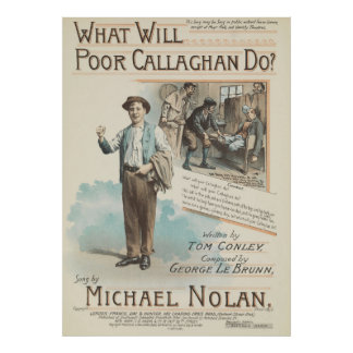 Vintage Song Sheet Poor Callaghan Poster