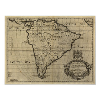 Vintage South America Map 1690 s circa Print