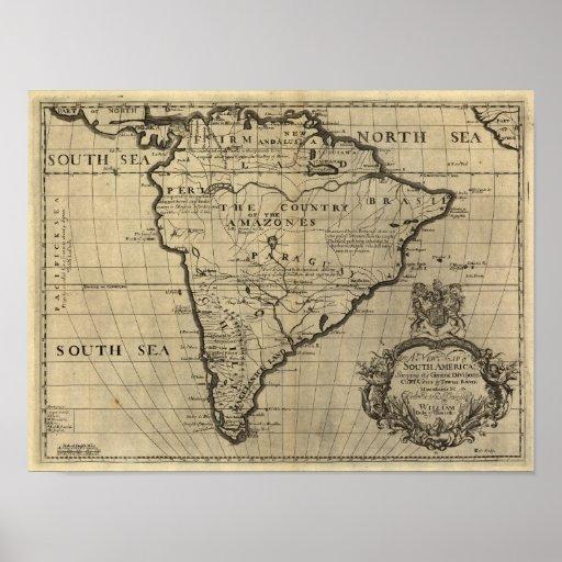 Vintage South America Map, 1690's (circa) Print