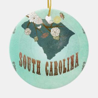 Vintage South Carolina State Map – Turquoise Blue Round Ceramic Decoration